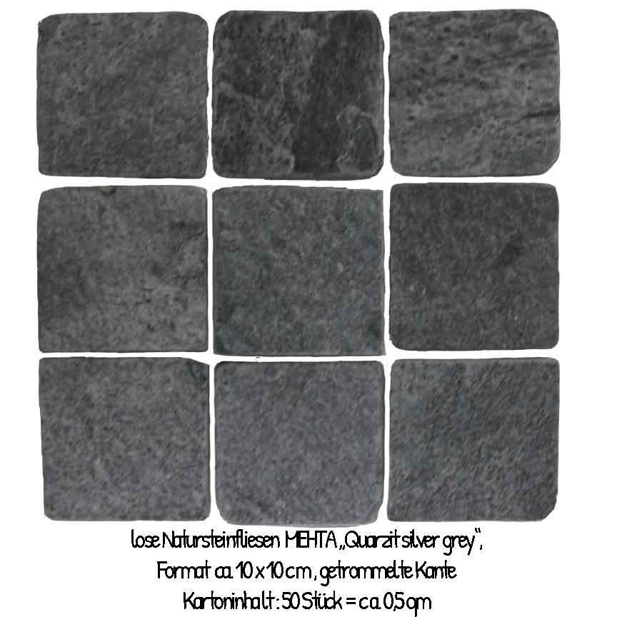 """Der Quarzit """"Silver-Grey"""" im Format 10x10cm, hat eine rustikale Kante (getrommelt) und wird lose geliefert"""