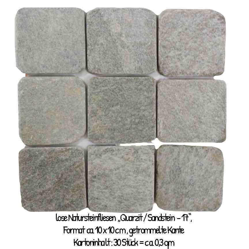 Der Sandstein-Quarzit Mix # 17 im Format 10x10cm, hat eine rustikale Kante (getrommelt) und wird lose geliefert