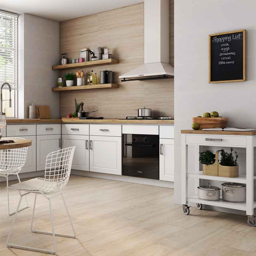 Die 3D-Wandfliese mit einer hellen Holzoptik ist auch in der Küche ein echtes Highlight