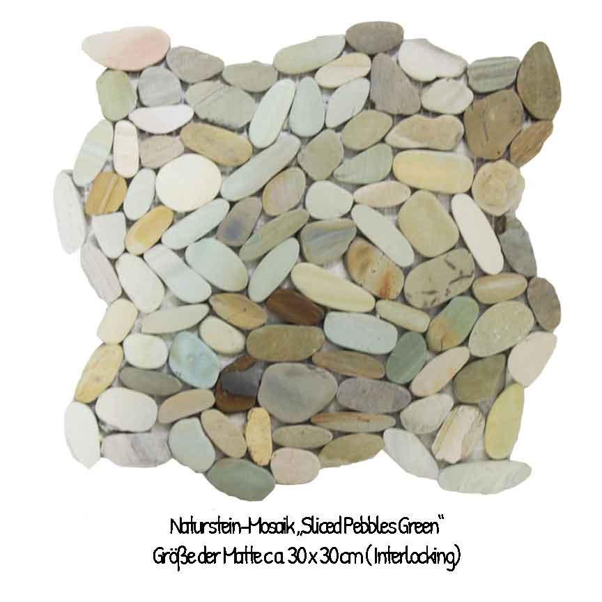 Die Farben des Dschungels als Kiesel Mosaik : Sliced Pebbles Green