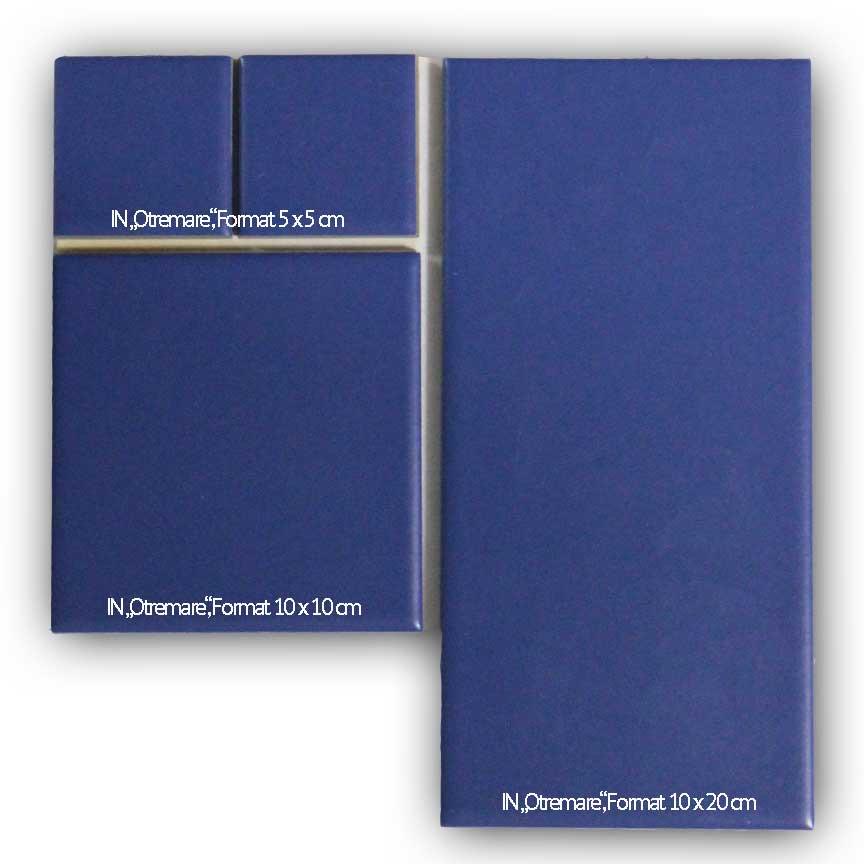 Die Steinzeugfliesen IN Otremare sind im Format 10x20cm, 10x10cm und 5x5 cm erhältlich