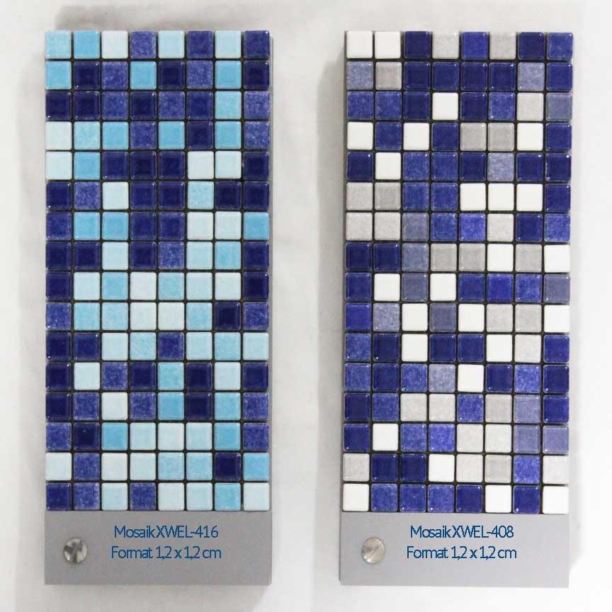 keramische Mosaike im Format 1,2x1,2 cm in verschiedenen Blaumischungen