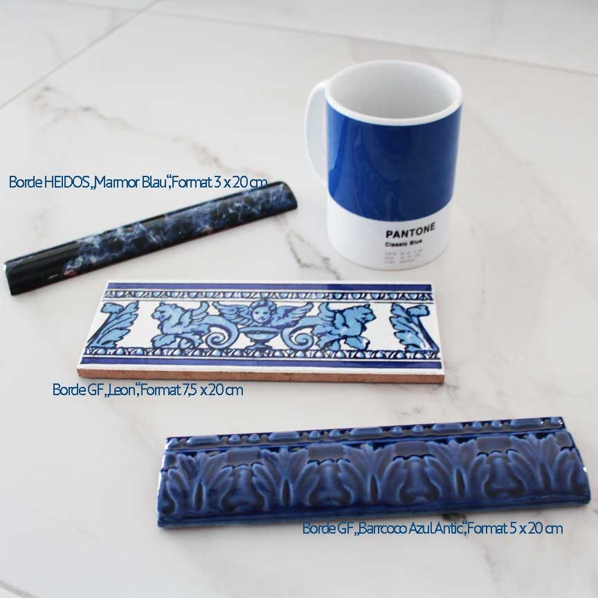 passende Bordüren in aktuellen Blautönen finden Sie in unserer Fliesenausstellung in Essen und Iserlohn