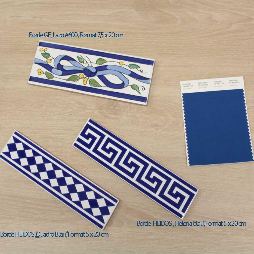 Bei uns finden Sie auch klassische blaue Bordüren
