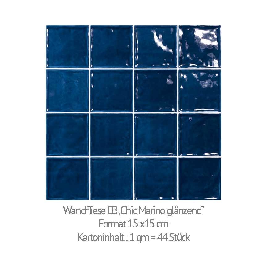 Passend zum Retro-Trend können wir quadratische Wandfliesen in einem klassischen Blauton anbieten
