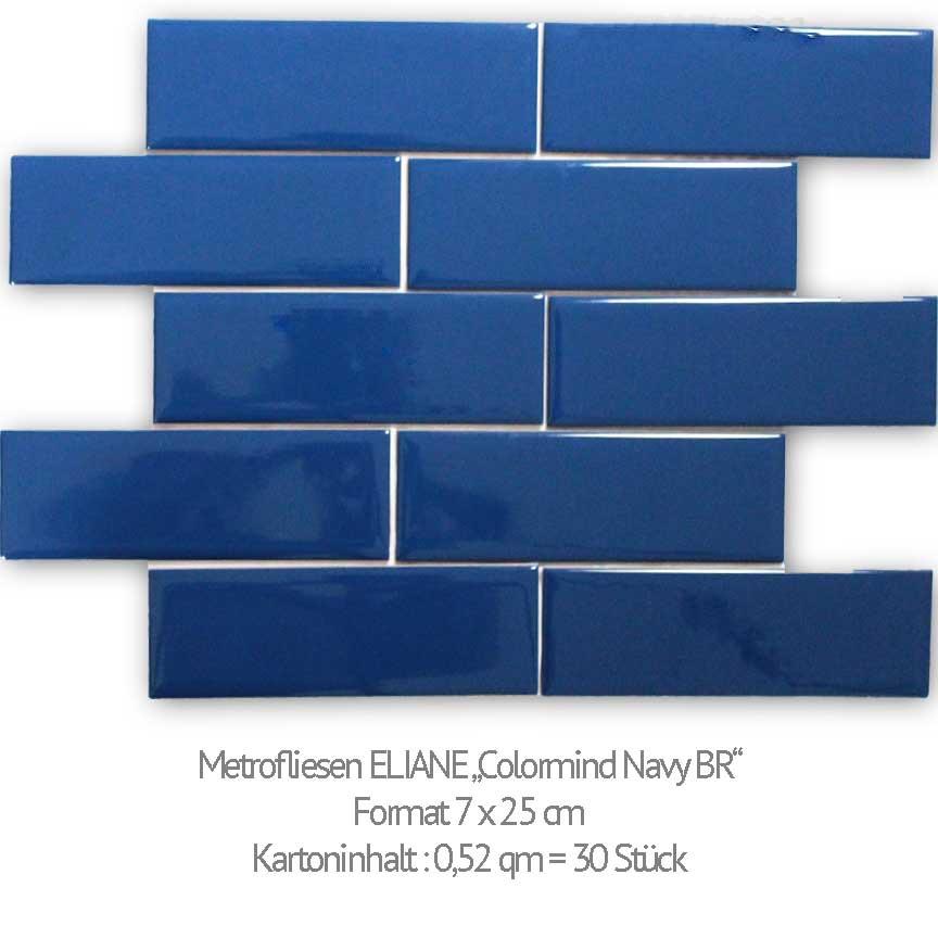 """Metrofliese Eliane """"Colormind Navy glänzend"""" im Format 7x25cm wird in unserer Ausstellung in Iserlohn und Essen präsentiert"""
