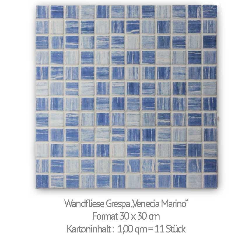 "Wandfliese Grespania ""Venecia Marino"" im Format 30x30 cm ist eine Mosaikimitation"