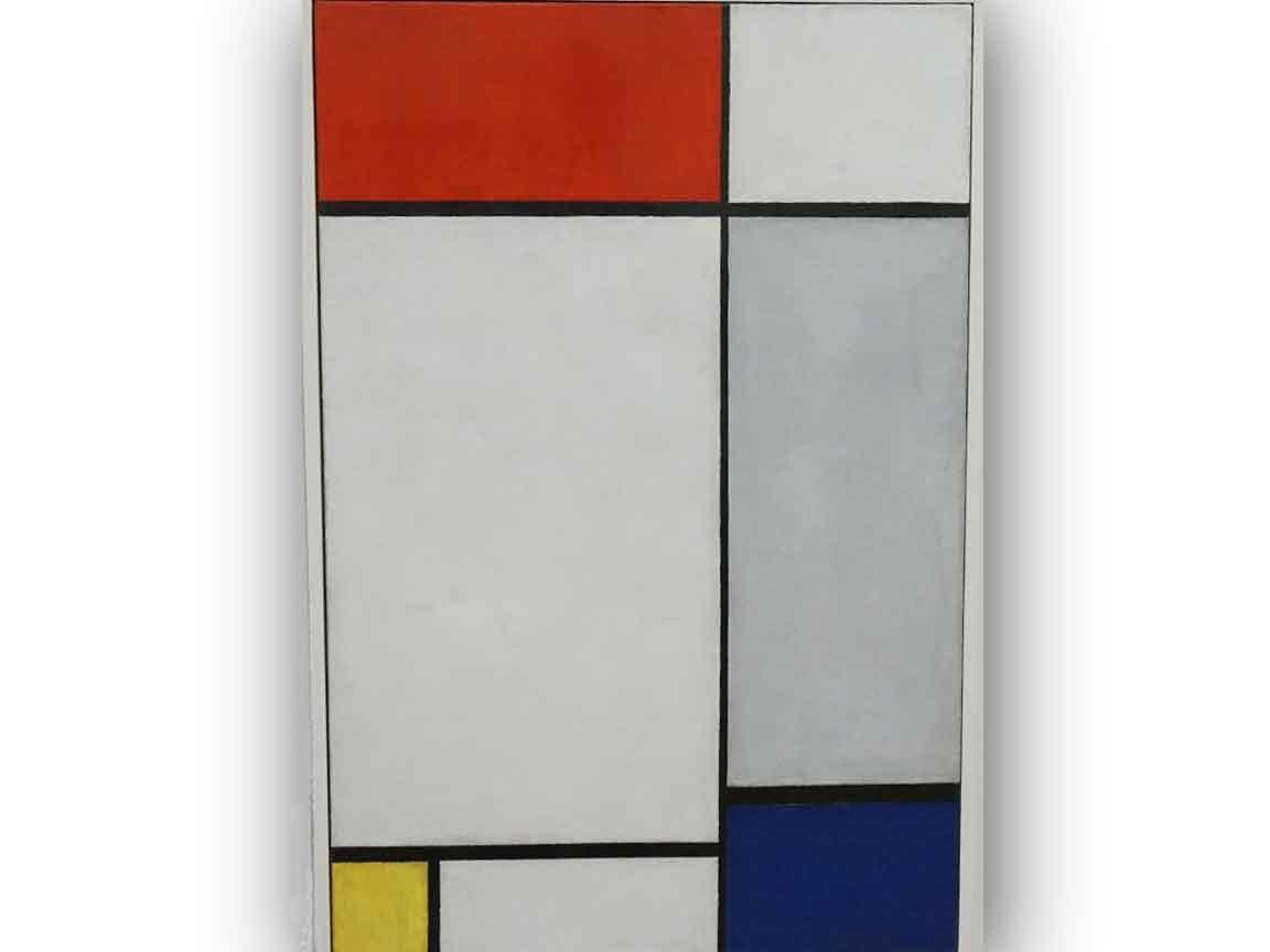 """Vorbild für das Color-Blocking Gestaltungsthema waren u.a. die Bilder von Piet Mondrian. Hier das Bild """"Composition en rouge, jaune et bleu"""" - gesehen im Folkwang-Museum in Essen / Ruhr"""