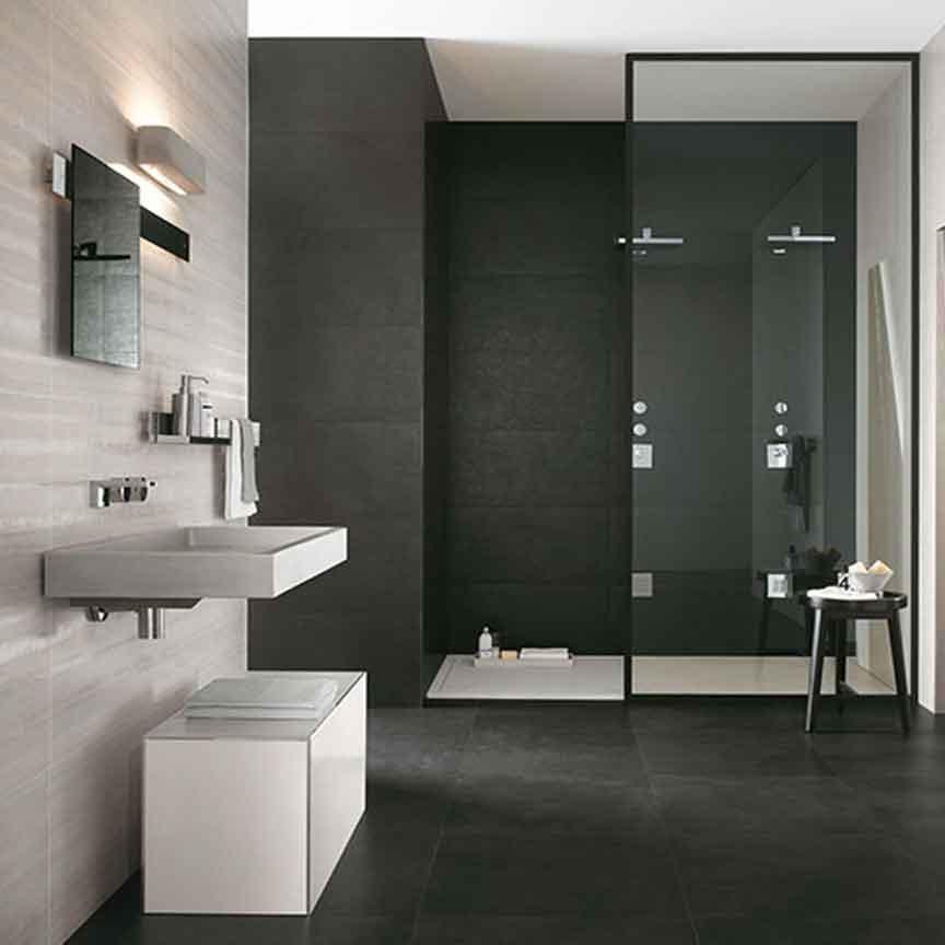Moderne Wandfliesen im Format 40x80cm in schwarz und weiß
