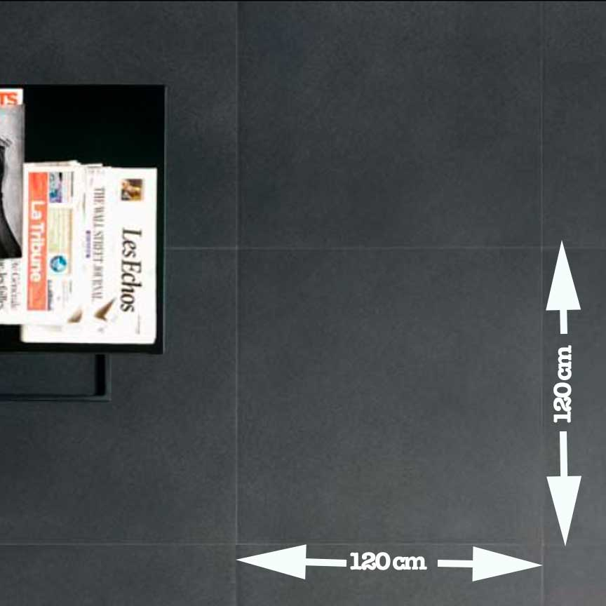 schwarzes Feinsteinzeug in XXL im Format 120x120cm