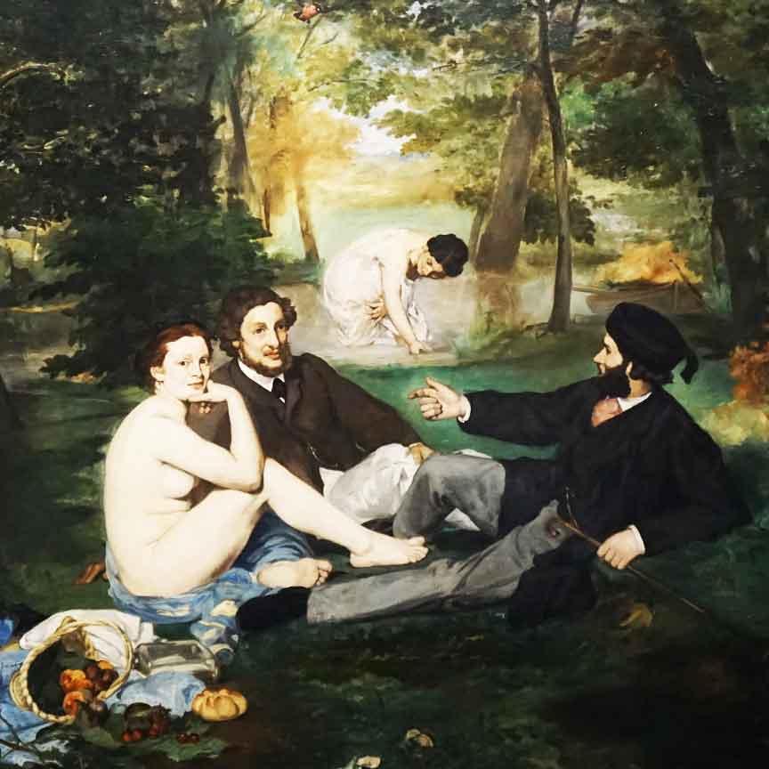 Bild Das Frühtück im Grünen / Le Dejeuner sur l`herbe von Edouard Manet von 1863. Gesehen im Musee d`Orsay in Parsis