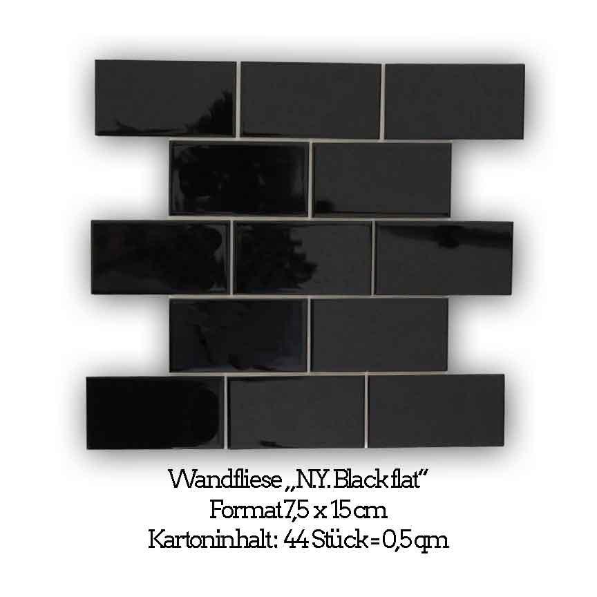 schwarz glänzende Metrofliesen in der flachen Obtik im Format 7,5x15 cm