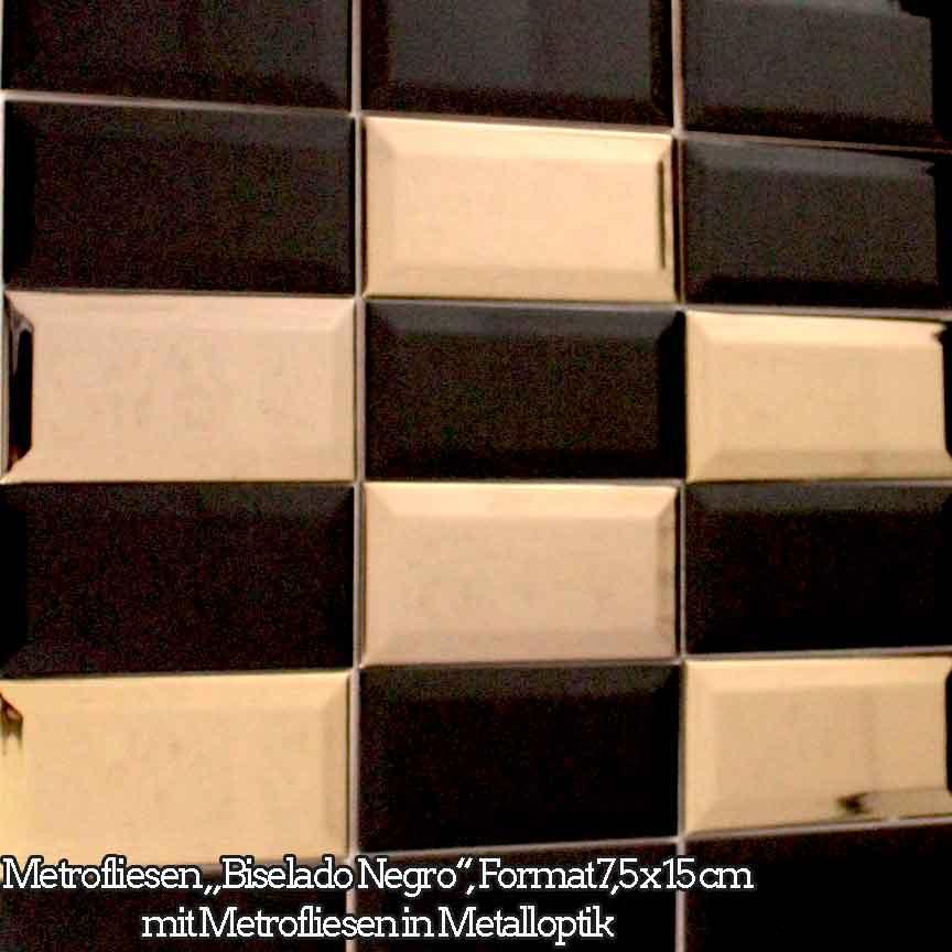 "Metrofliesen ""Biselado Negro"" im Format 7,5x15cm mit Metalloptik-Metrofliesen"