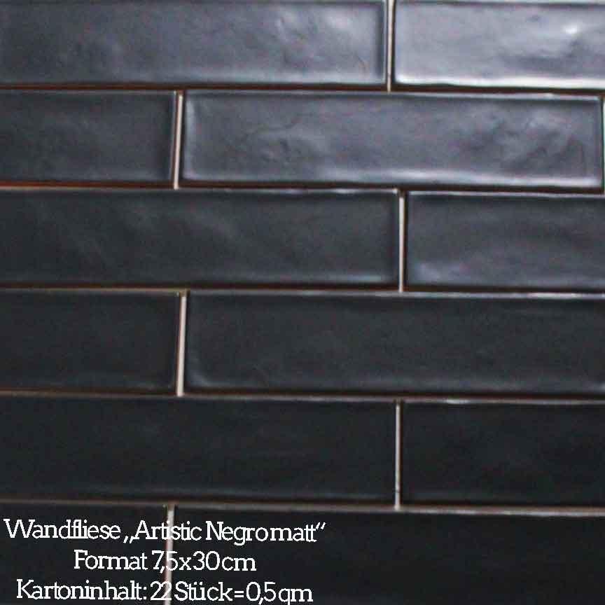 Wandfliese Metrofliese Artistic schwarz matt, Format 7,5x30cm