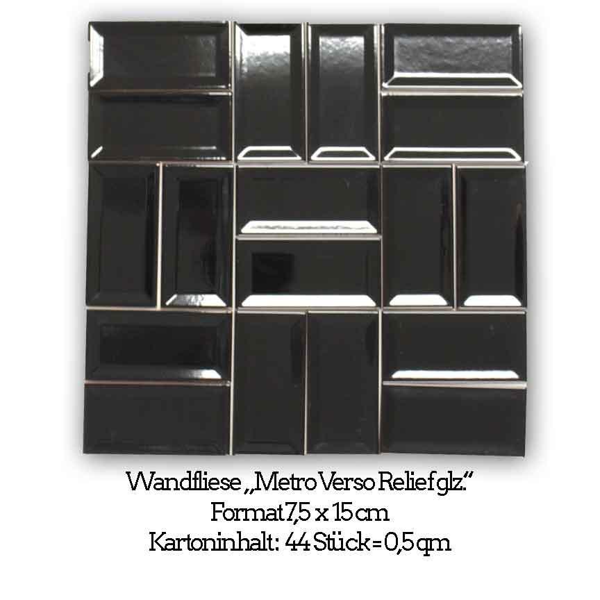schwarz glänzende Metrofliesen in der Verso Obtik im Format 7,5x15 cm