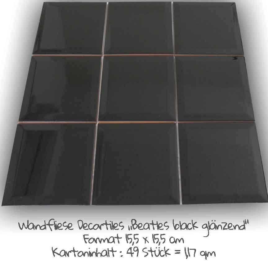 """Metrofliesen müssen nicht immer ein rechteckiges Format haben. Hier unsere neue Serie """"Beatles (Farbe schwarz) im Format 15,5x15,5cm"""