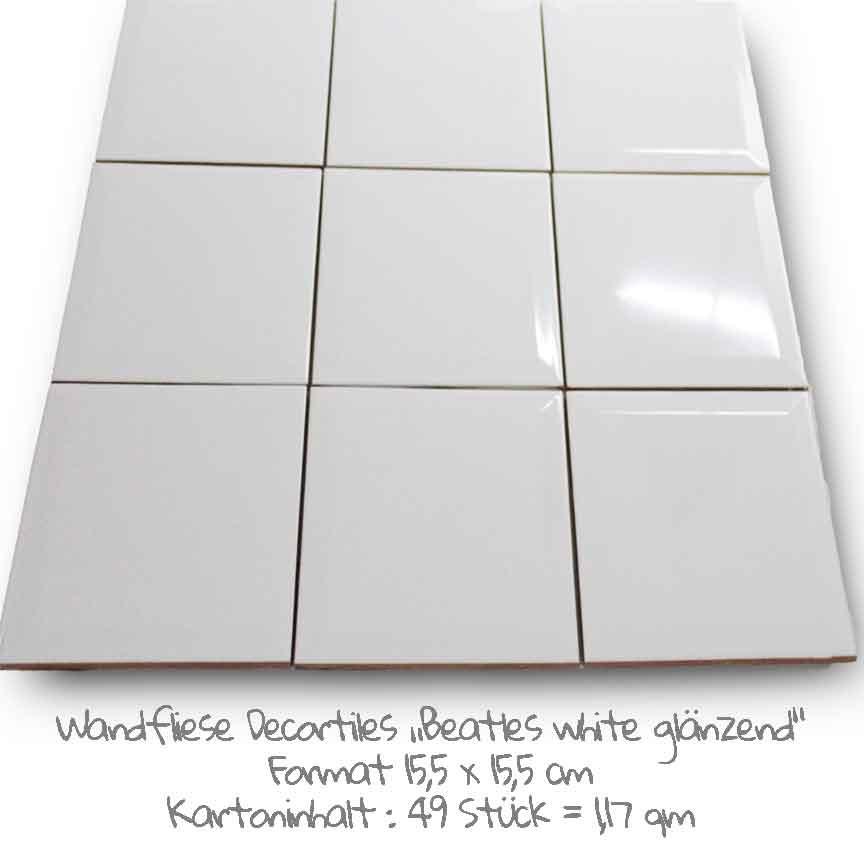 """Metrofliesen müssen nicht immer ein rechteckiges Format haben. Hier unsere neue Serie """"Beatles (Farbe weiß) im Format 15,5x15,5cm"""