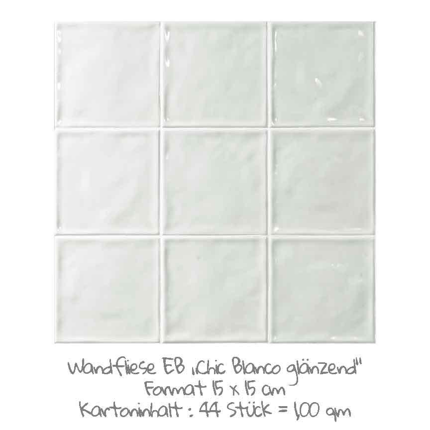 quadratische Wandfliesen im Nostalgielook in weiß, im Format 15x15cm mit einer glänzenden Oberfläche