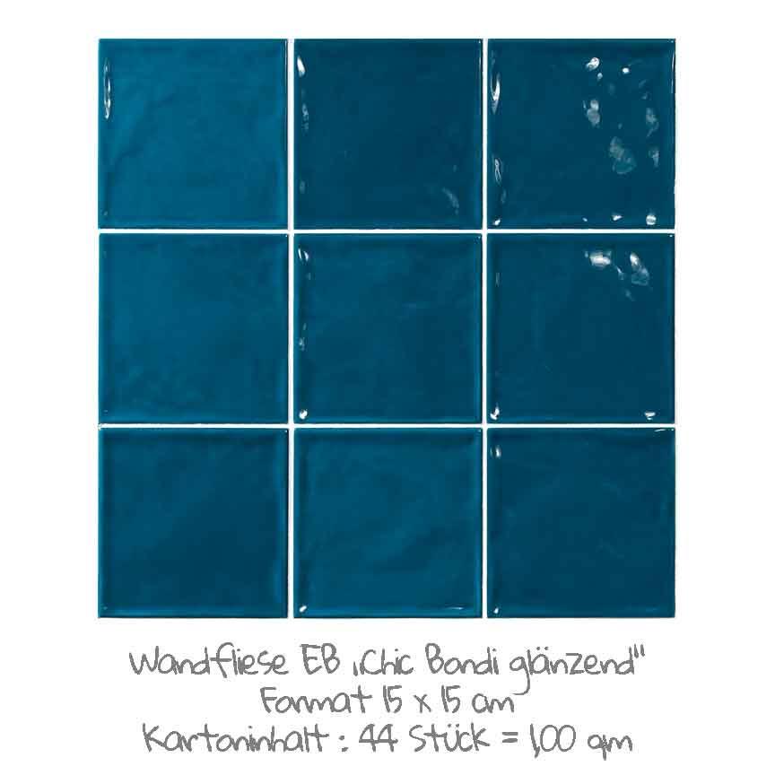quadratische Wandfliesen im Nostalgielook in Bondi-blau, im Format 15x15cm mit einer glänzenden Oberfläche