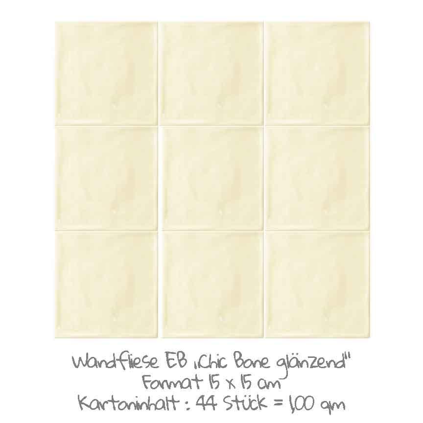 quadratische Wandfliesen im Nostalgielook in Bone, im Format 15x15cm mit einer glänzenden Oberfläche
