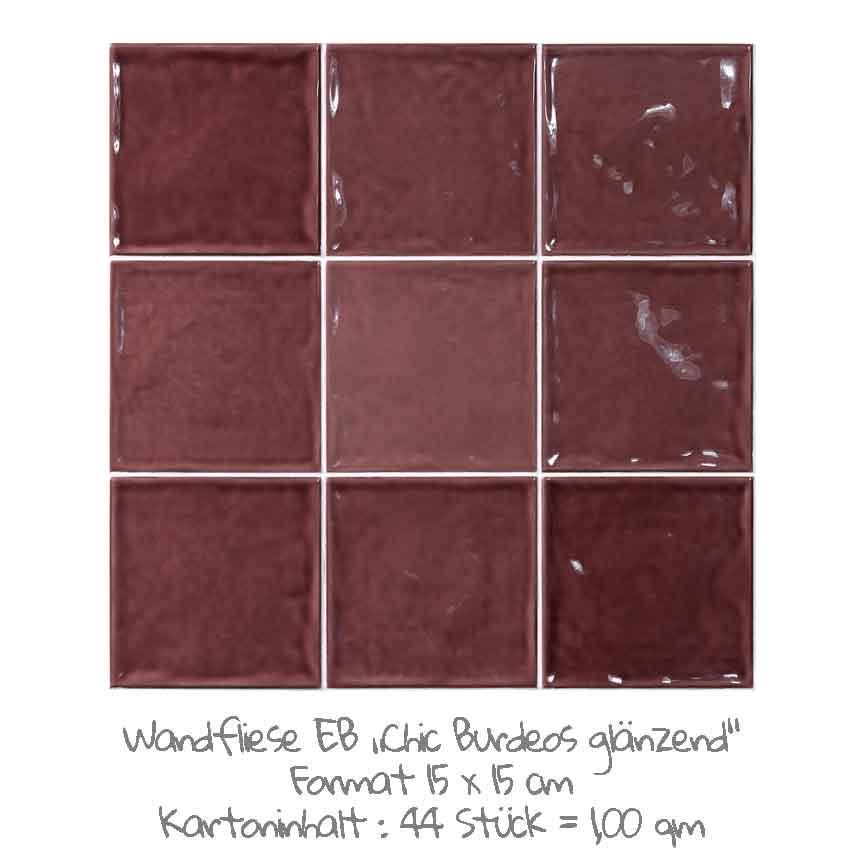 quadratische Wandfliesen im Nostalgieook in Burdeos, im Format 15x15cm mit einer glänzenden Oberfläche