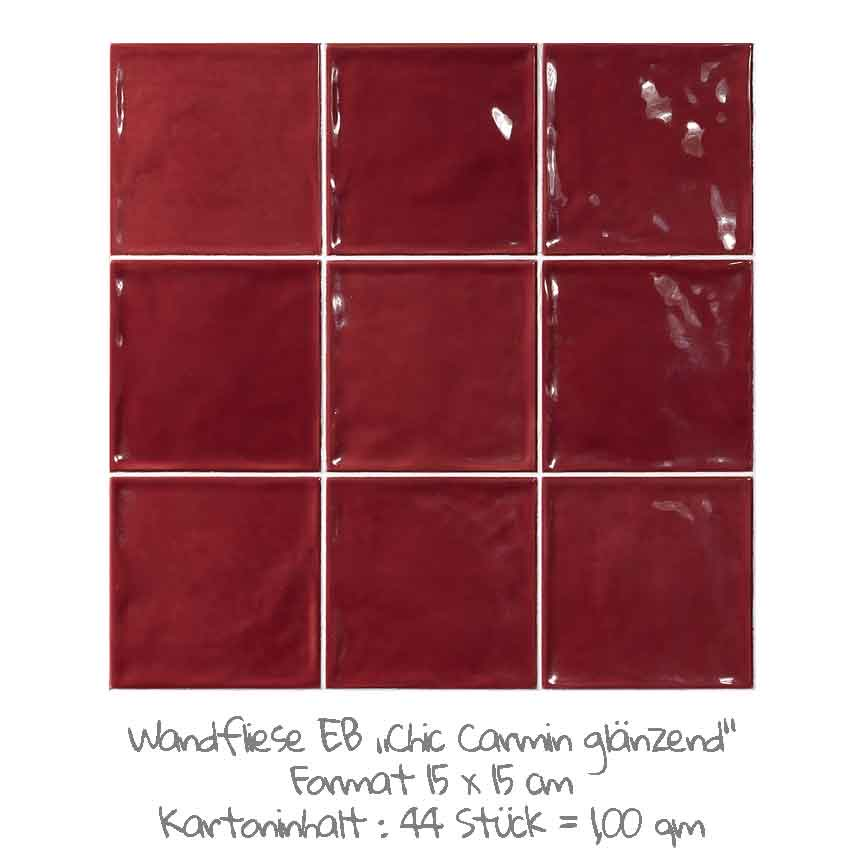 quadratische Wandfliesen im Nostalgieook in rot, im Format 15x15cm mit einer glänzenden Oberfläche