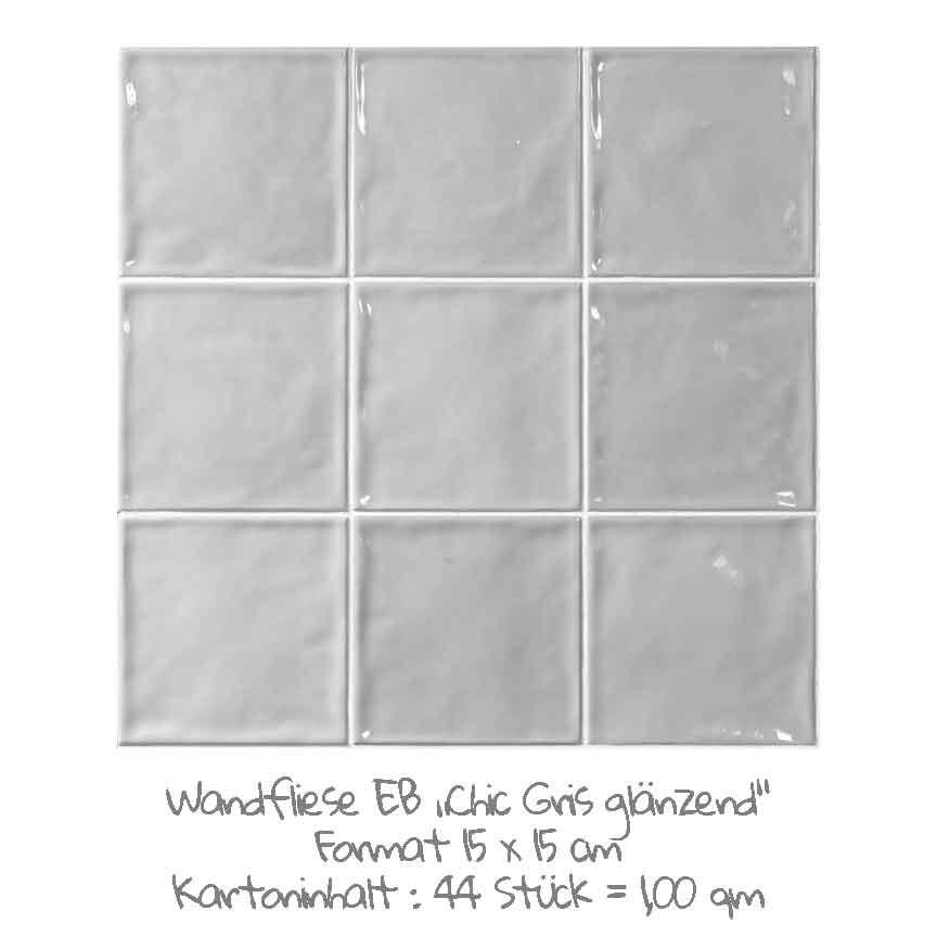quadratische Wandfliesen im Nostalgieook in grau, im Format 15x15cm mit einer glänzenden Oberfläche
