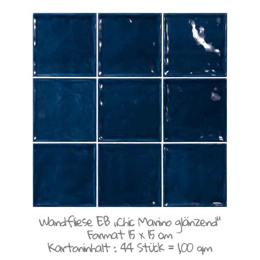 quadratische Wandfliesen im Nostalgielook in Marino-blau, im Format 15x15cm mit einer glänzenden Oberfläche