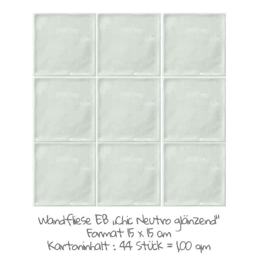 quadratische Wandfliesen im Nostalgielook in Neutro, im Format 15x15cm mit einer glänzenden Oberfläche