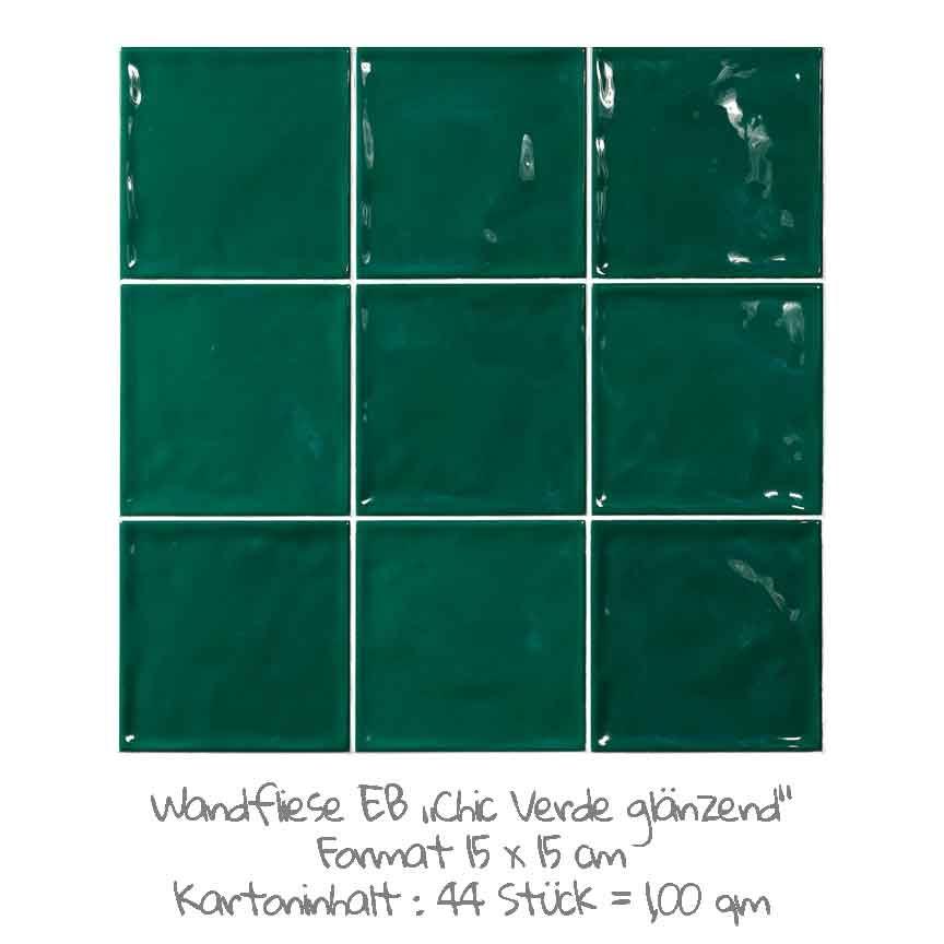 quadratische Wandfliesen im Nostalgielook in grün, im Format 15x15cm mit einer glänzenden Oberfläche