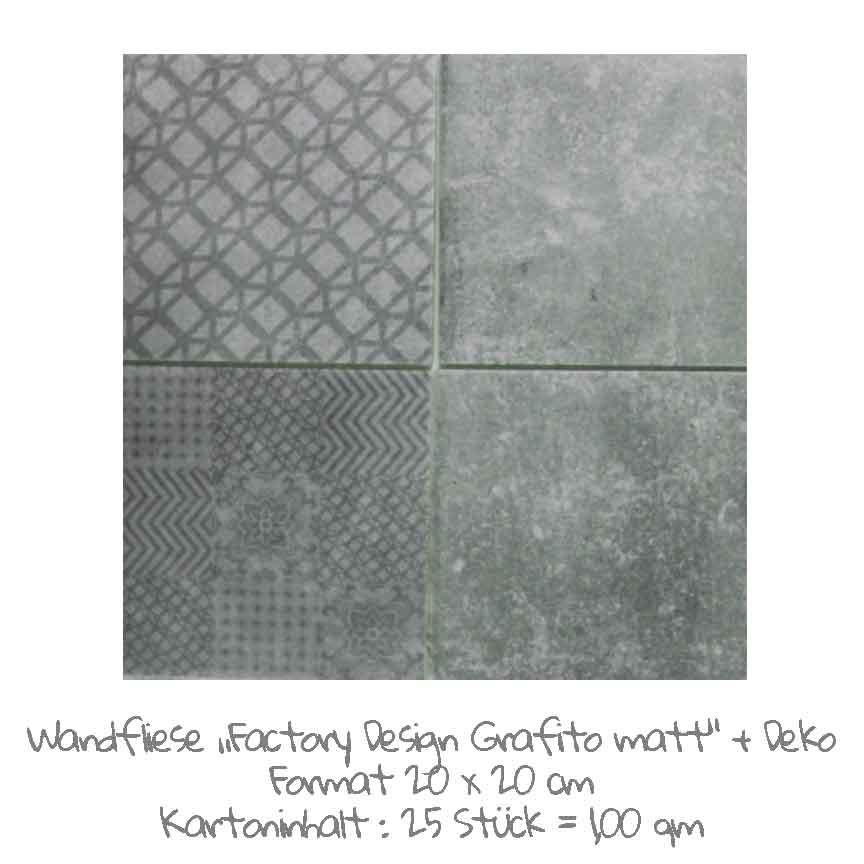 quadratische Wandfliesen-Serie Factory Design im Farbton Grafito