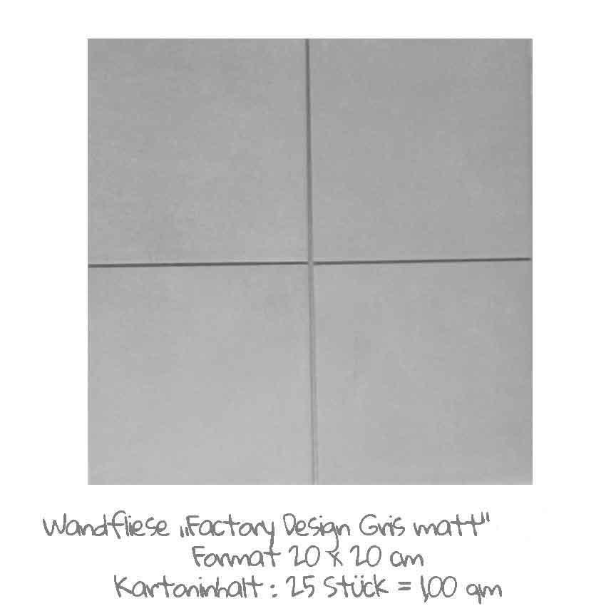 quadratische Wandfliesen-Serie Factory Design im Farbton Gris