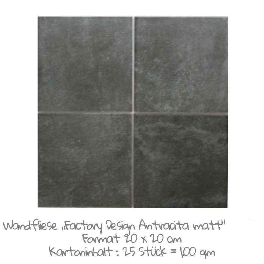 quadratische Wandfliesen-Serie Factory Design im Farbton Antracita