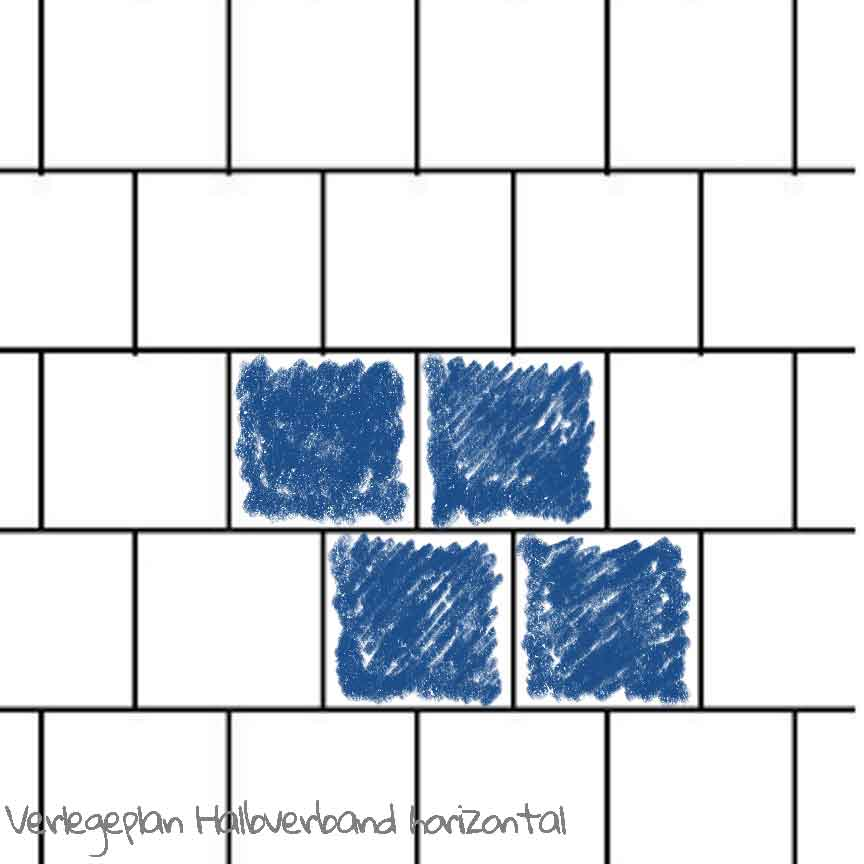 quadratischen Wandfliesen in einem horizontalen Halbverband