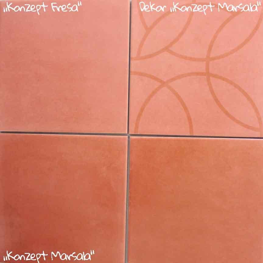 Wand / Bodenfliese-Serie KONZEPT mit schönen Coralle-Farben im Format 20x20cm