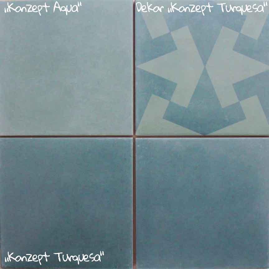 Wand / Bodenfliese-Serie KONZEPT mit schönen Aqua-Farben im Format 20x20cm