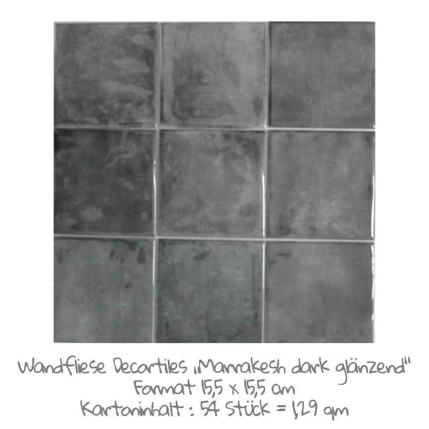 quadratische Wandfliesen mit einem schönen Farbspiel in dark, im Format 15,5x15,5 cm