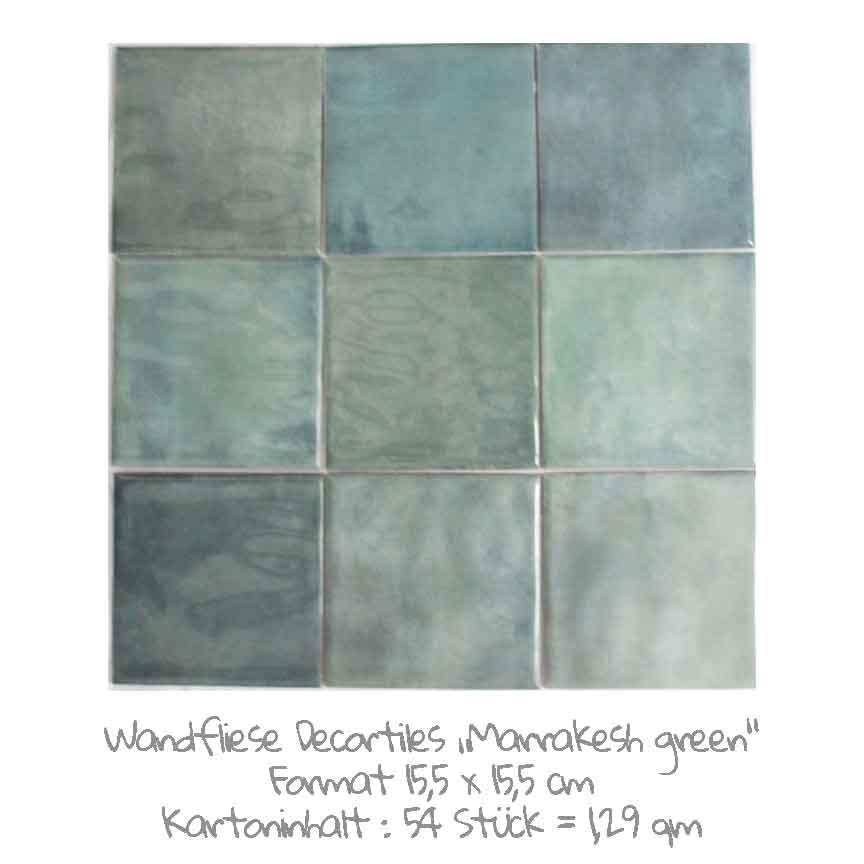 quadratische Wandfliesen mit einem schönen Farbspiel in grün, im Format 15,5x15,5 cm