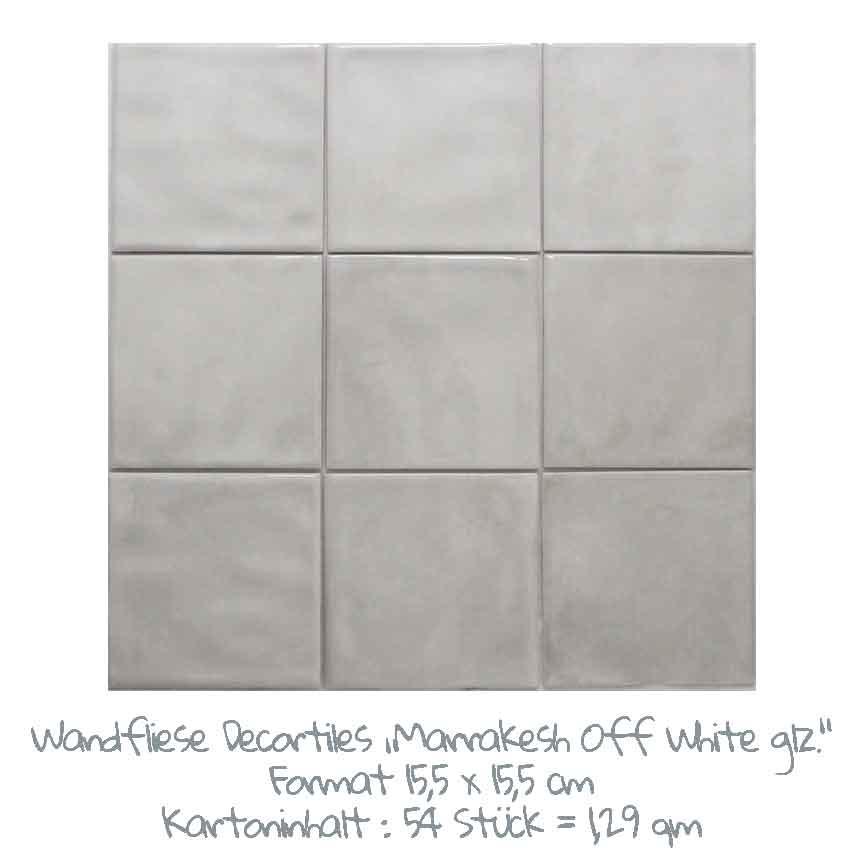 quadratische Wandfliesen mit einem schönen Farbspiel in off-white, im Format 15,5x15,5 cm