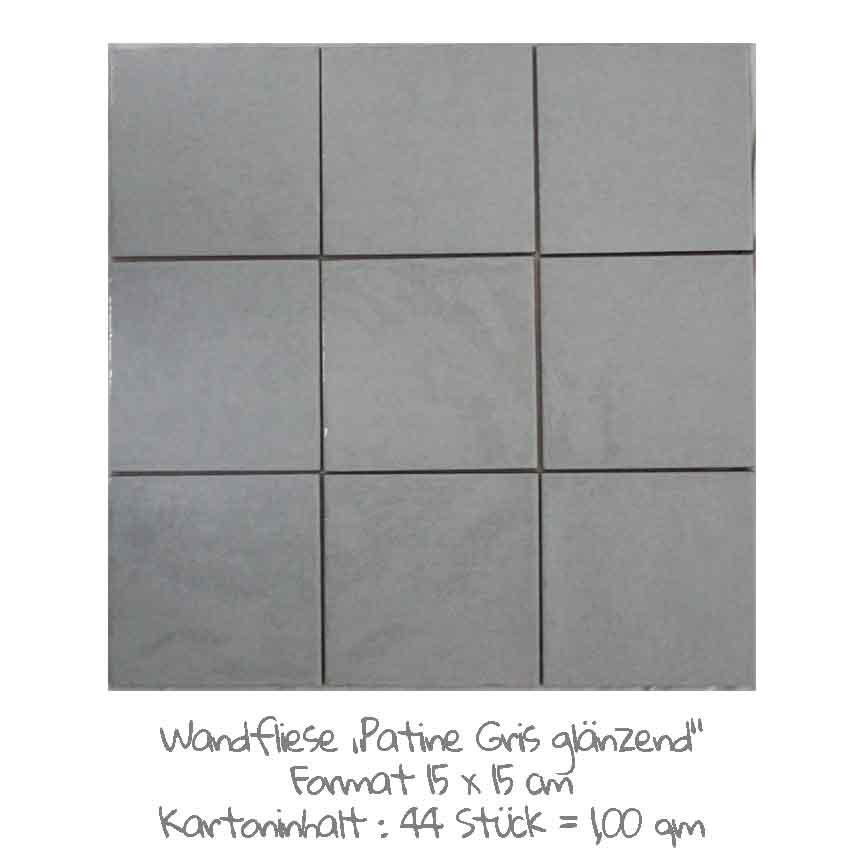 quadratische Wandfliesen im Vintage-look in grau, im Format 15x15cm