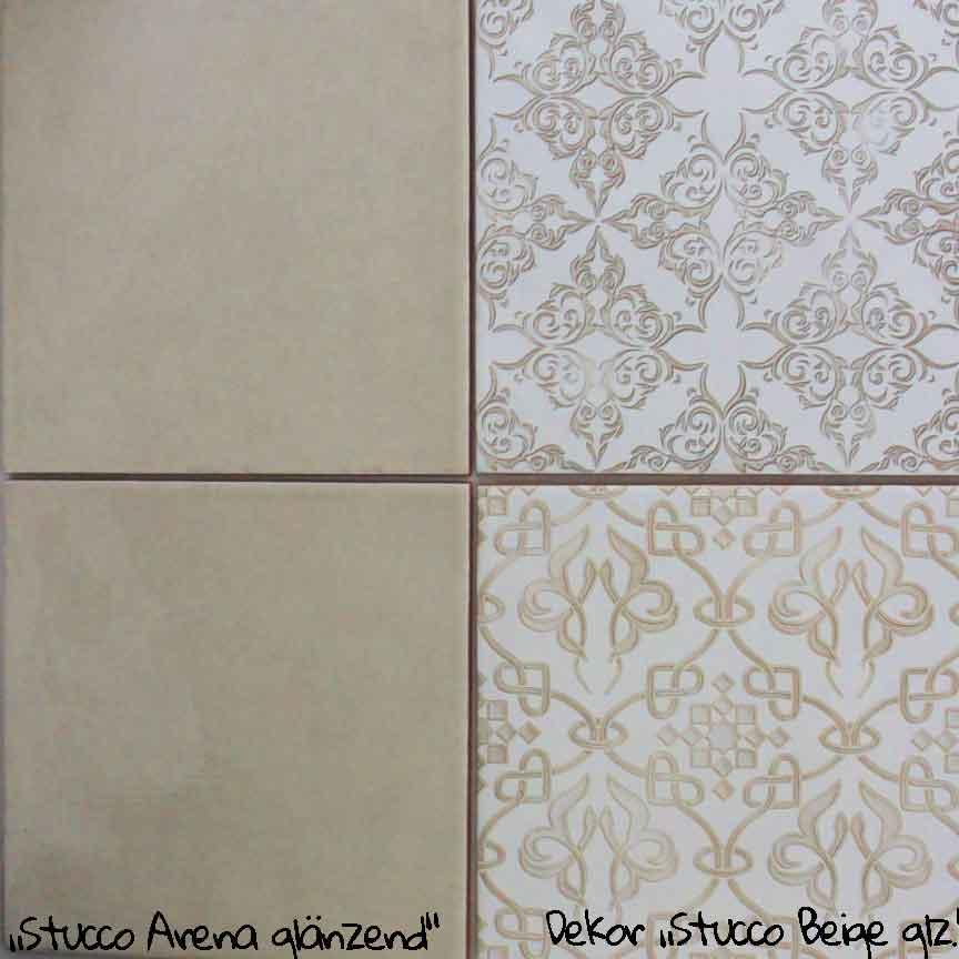 """Wandfliese """"Stucco Arena"""" im Format 20x20cm. mit passenden Patchwork-Dekoren"""