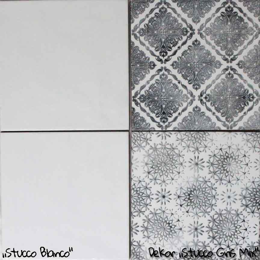 """Wandfliesen """"Stucco Blanco"""" im Format 20x20cm. mit passenden Patchwork-Dekoren"""