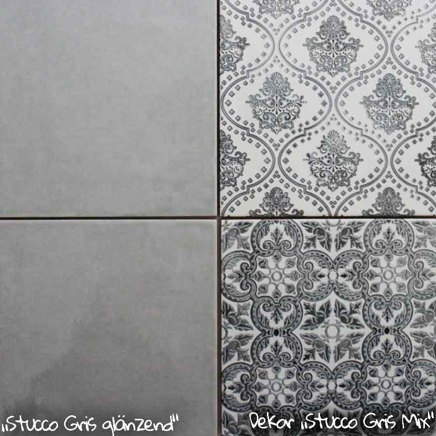 """Wandfliese """"Stucco Gris"""" im Format 20x20cm. mit passenden Patchwork-Dekoren"""
