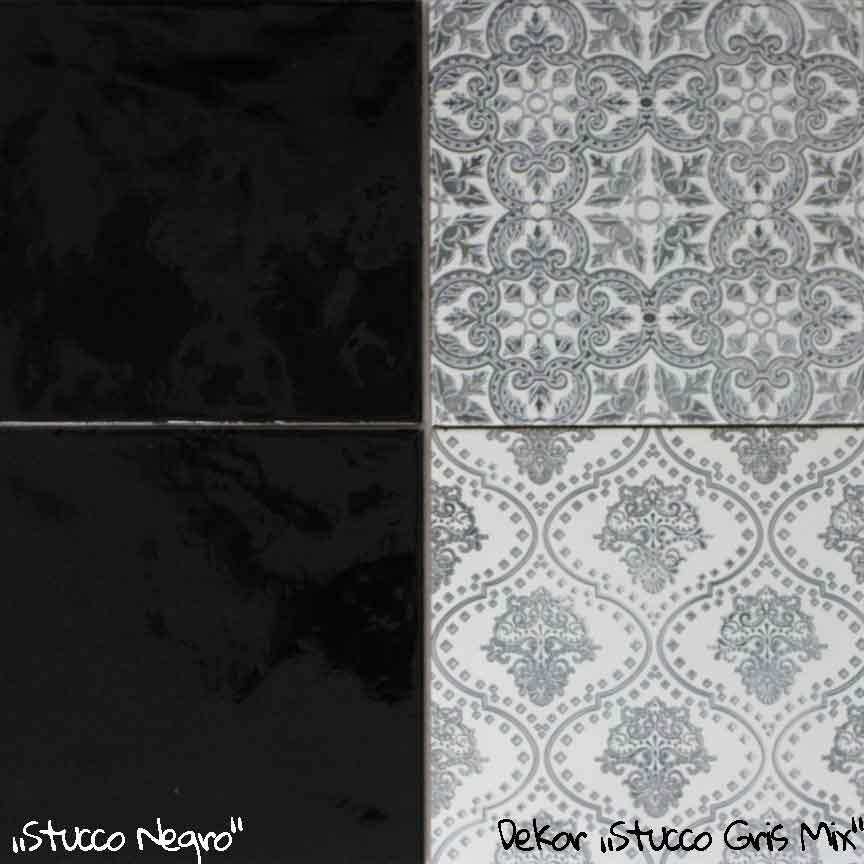 """Wandfliese """"Stucco Negro"""" im Format 20x20cm. mit passenden Patchwork-Dekoren"""