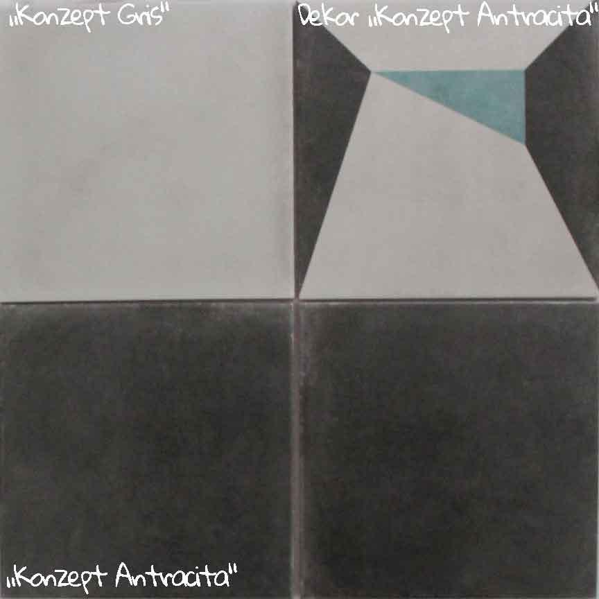 moderne Zementfliesenoptik mit geometrischen Dekoren im Format 20x20cm