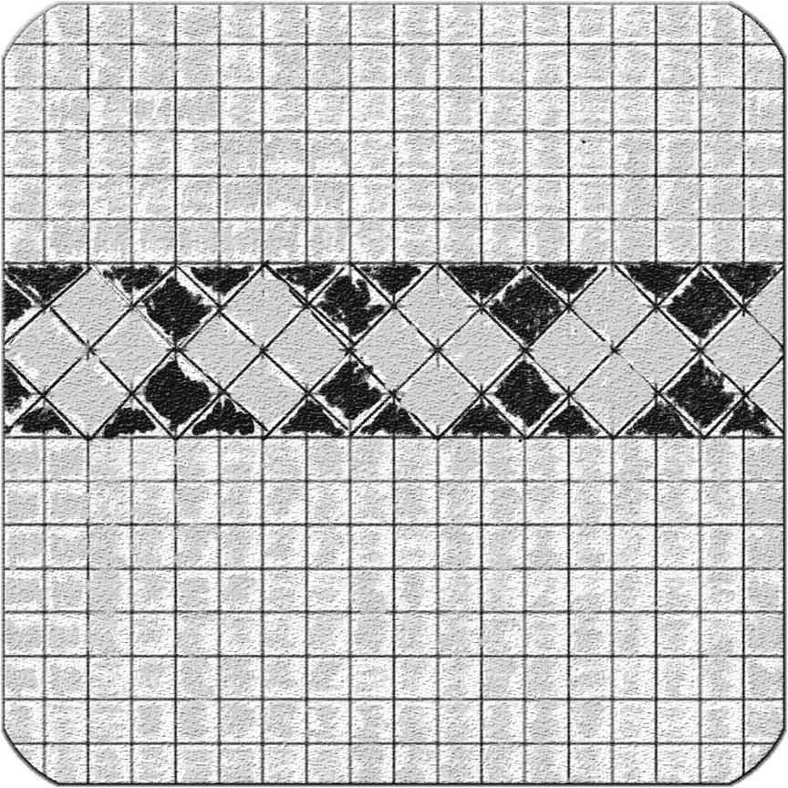 Verlegemuster für Munari-Mosaik mit Borde