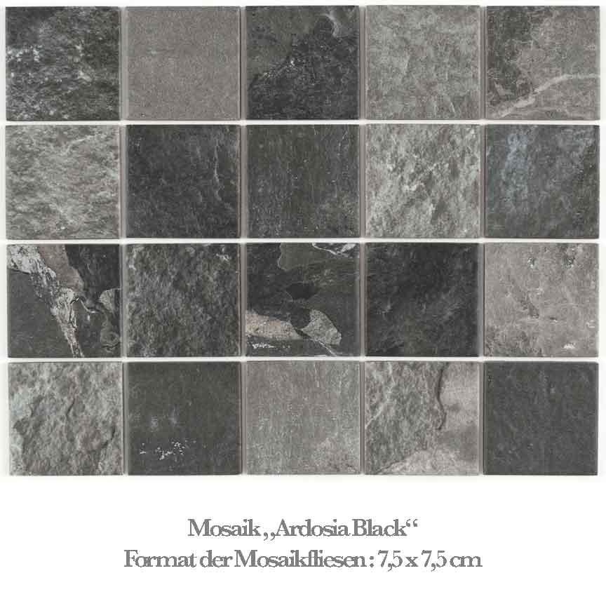 schwarzes Mosaik in einer Schieferoptik