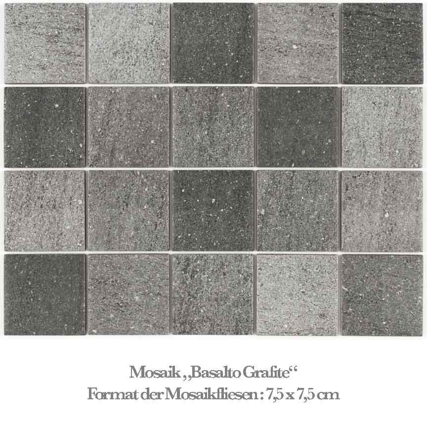 dunkles Mosaik in einer Basalt Nachbildung