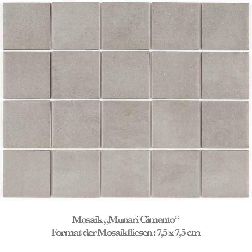 Zement farbiges Mosaik lädt zum kreativen Gestalten ein
