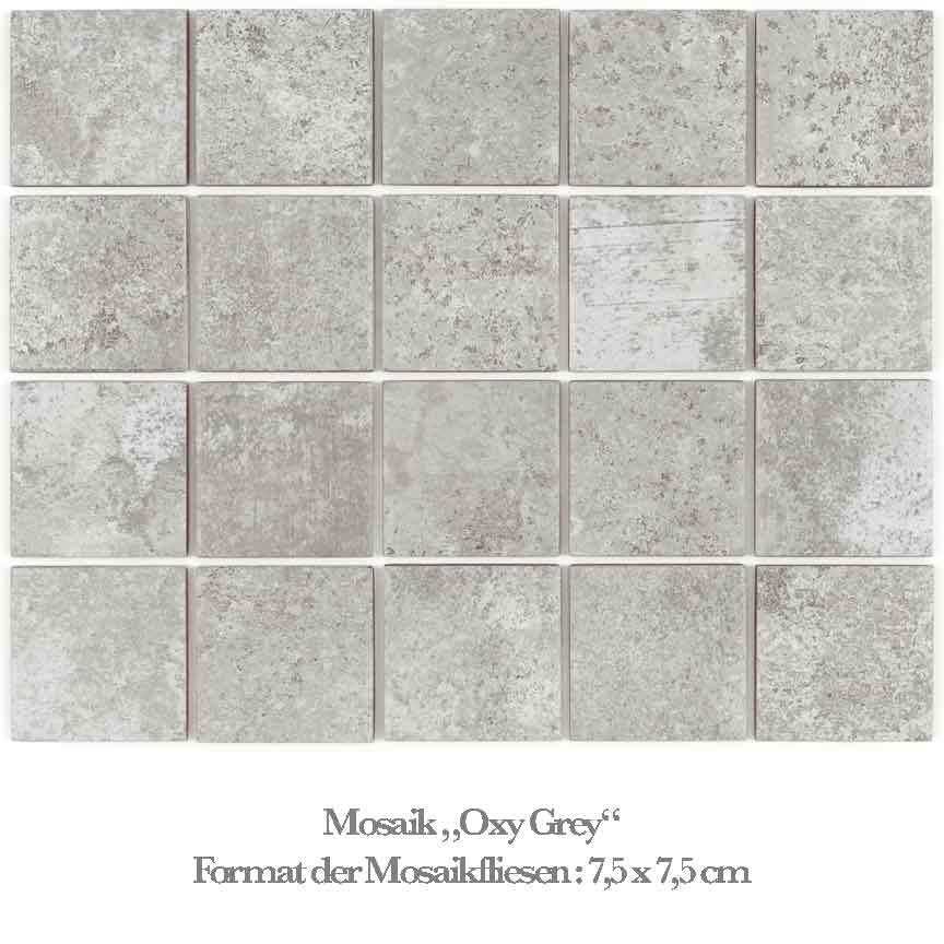 graues Mosaik in einer beliebten Metalloptik / Betonoptik